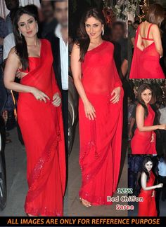 Kareena Kapoor Red Chiffon Saree