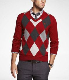 i'd have to see it on yor first to see if i'd actually like it. Express Mens Argyle Cotton Vneck Sweater Tempest Red, X Large