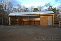 Two Stall Horse Barn with Tack Room Horse Shed, Horse Barn Plans, Barn Stalls, Horse Stalls, Small Horse Barns, Backyard Barn, Horse Shelter, Goat Barn, Horse Corral