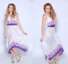Vintage 70s FLORAL Dress White PIXIE Hem Dress by LotusvintageNY #scarfdress #asymmetrical #blouson #sundress #sheer #floral #70s #stripe #boho