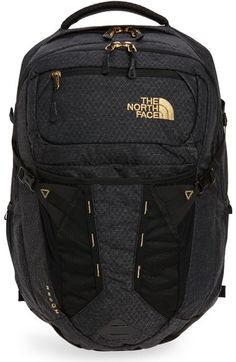 The North Face 'recon' Backpack - Black In Tnf Black/ Gold North Face Backpack School, North Face Bag, North Face Women, The North Face, North Faces, Backpack Outfit, Black Backpack, Backpack Bags, Black North Face Backpack