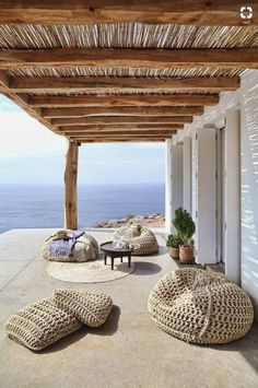 #Beachwood happy outdoor days. Knitted beanbags
