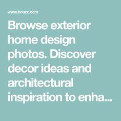 Browse exterior home design photos. Discover decor ideas and architectural inspiration to enhance your home's exterior and facade as you build or remodel.