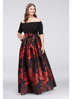 This plus-size ball gown is in bloom: the rose jacquard skirt makes a bold floral statement, as the off-the-shoulder crepe bodice stays stylishly on-trend. Side pockets and a wide sash complete the si Plus Size Gowns Formal, Plus Size Long Dresses, Plus Size Wedding Guest Dresses, Plus Size Skirts, Mother Of The Bride Plus Size, Mother Of The Bride Dresses Long, Modelos Plus Size, Evening Gowns, Plus Size Evening Gown