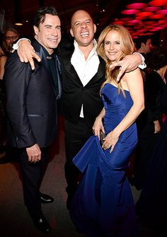 John Travolta his wife Kelly Preston with actor Vin Diesel at the Vanity Fair Afterparty.
