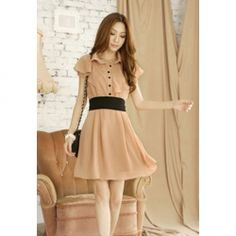 Lapel Casual Slimming Style With Belt Solid Color Flounce Short Sleeve Chiffon Dress For Women