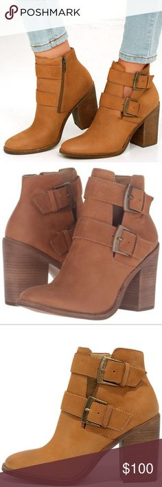"NEW Steve Madden ""Trevur"" Leather Bootie Size 10 Round toe - Leather construction - Dual wraparound adjustable metal buckle detail - Side zip closure - Lightly padded footbed - Stacked block heel - Welt midsole	 - Approx. 6"" shaft height, 10"" opening circumference - Approx. 3.5"" heel Steve Madden Shoes Ankle Boots & Booties"