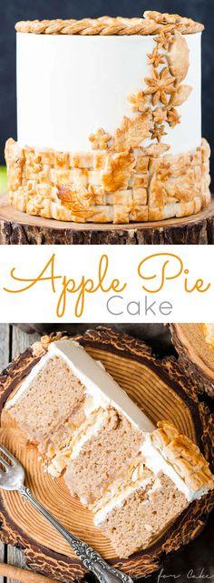 Apple Pie Cake! Layers of spice cake, vanilla buttercream, apple pie filling, and even flakey pie crust. | livforcake.com