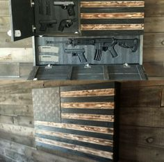 Burnt Large Concealment Flag | Wooden American Flag Weapon Concealment Cabinet