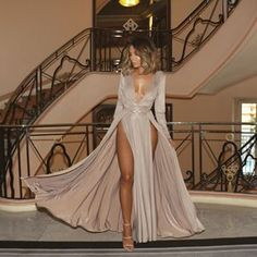 Prom dresses long with sleeves - Simple Grey V Neck Satin Long Prom Dress with Slit – Prom dresses long with sleeves Elegant Dresses, Sexy Dresses, Beautiful Dresses, Evening Dresses, Fashion Dresses, Formal Dresses, Fashion Clothes, Casual Clothes, Style Fashion