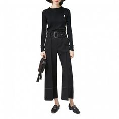 --evaChic--These Céline Buckle-Belt Bell-Bottom Pants are an updated version of the 70s-inspired flared pants with contrast seam close to the hem and adjustable paperbag waistline decorated with a gold-tone square-buckle matching belt. This desk-to-dinner luxe wardrobe basic is a real investment piece of timeless allure.                 http://www.evachic.com/product/celine-buckle-belt-bell-bottom-pants/