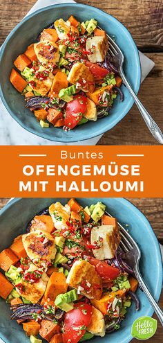 Bring your spring to the kitchen: our colorful oven vegetables with Halloumi. Oven Vegetables / Halloumi / Vegetarian / Sweet Potato / Cooking / Eating / Nutrition / Delicious / Cooking Box / I Vegetarian Lunch, Vegetarian Recipes Easy, Healthy Recipes, Oven Vegetables, Roasted Vegetables, Chimichurri, Homemade Pesto Sauce, Hello Fresh Recipes, Food Inspiration