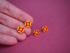 cherry red and dandelion yellow circular peyote stitch diamond shape stud post earrings set
