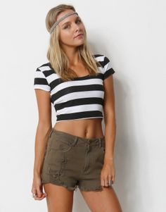 37* STRIPED CROPPED TOP - 37* STRIPED FITTED CROPPED T-SHIRT - T-Shirts
