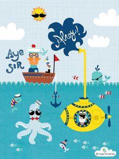 Nautical Illustration - Submarine - Inga Wilmink