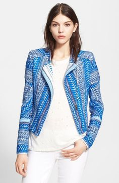 Nordstrom Jackets - Free shipping and returns on IRO 'Ozaka' Tweed Jacket at Nordstrom.com. Tactile ... Tweed Jacket, Moto Jacket, Blazer Jacket, Nordstrom Jackets, Black White Pattern, Red Lace, Shades Of Blue, Blue And White, Free Shipping