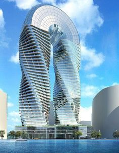 Sustainable Building & Green Architecture The DNA Towers project is conceived by James Law Cybertecture International as the first landmark Cybertecture mix used residential/commercial and retail development on Reem Island in Abu Dhabi. Unusual Buildings, Interesting Buildings, Amazing Buildings, Modern Buildings, Architecture Unique, Futuristic Architecture, Interior Architecture, Interior Design, London Architecture