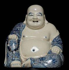 Delicate 19C 20C Blue AND White Porcelain Buddha Statue Marked LK140   eBay