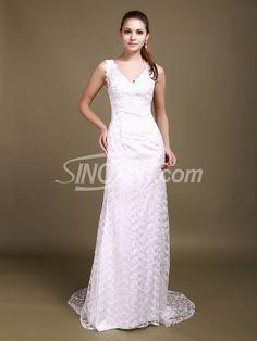 Stunning A-line V-neck Lace Sweep Train Wedding Dress