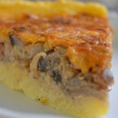 """Braai tart"" – Polenta, Mushroom and Bacon tart. (Remove bacon, and no cheese - add marinara sauce, maybe) Braai Recipes, Side Recipes, Cooking Recipes, Cooking Time, South African Dishes, South African Recipes, Tart Recipes, Dessert Recipes, Polenta Recipes"