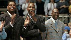 Tarheel legends Sam Perkins, James Worthy, and Michael Jordan in Chapel Hill, North Carolina to honor Dean Smith.