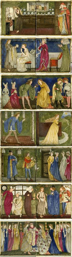 """Seven pairs of hand painted tiles depict the story of Cinderella or the """"Cinder-Wench…the maid with the shoe of glass."""" Only four sets of these tiles are known to have survived. Morris & Co."""