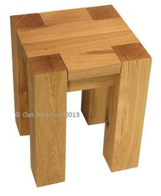 Denver stool / lamp table - solid oak lamp tables.