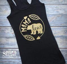 Mama Bear Women's Shirt, Mama Bear Shirt, Mom Shirt, Shirt For Mom, Handmade, Made To Order, Gold Vinyl Saying, Shirt With Saying by TheSugarCreekShoppe on Etsy