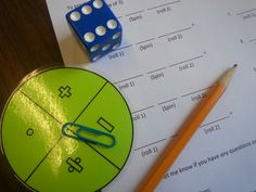 Fill in the blank worksheet with dice for numbers and spinner for operations--could be adapted for lots of different types of problems.