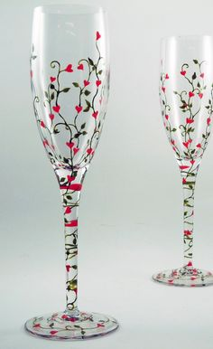 Hand Painted Glassware | Crystal hand painted champagne flutes