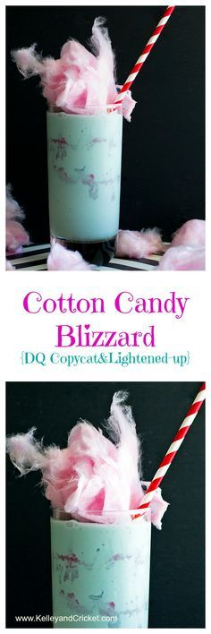 Candy Blizzard (DQ Copycat & Lightened-up!) Lightened-up Dairy Queen Cotton Candy Blizzard copycat. Gluten-free and dairy free recipe options too!Lightened-up Dairy Queen Cotton Candy Blizzard copycat. Gluten-free and dairy free recipe options too! Ice Cream Desserts, Frozen Desserts, Frozen Drinks, Fun Drinks, Yummy Drinks, Delicious Desserts, Beverages, Non Alcoholic Drinks, Vegan Recipes