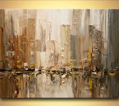 "ORIGINAL City Painting Modern Acrylic Palette Knife Abstract Textured Painting by Osnat 40"" x 30"" Large"
