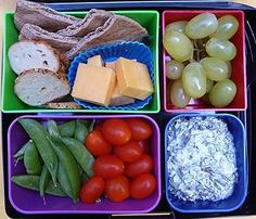 Cure for the Lunchtime Munchies:  Whole Wheat Pita: 170 Cal 6 Bagel Chips: 60 Cal 1/2 C Green Grapes: 52 Cal 1oz Cheddar Cheese: 80 Cal 1/2 C Plum Tomatoes: 25 Cal 1/2 Cup Sugar Snap Peas: 20 Cal 2 Tbs Spinach Dip: 50 Cal TOTAL: 457 Calories #laptoplunches #healthy