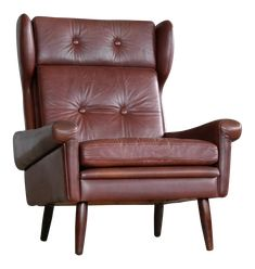 Sven Skipper High Back Winged Arm or Lounge Chair in Chestnut Brown Leather Best High Chairs, High Back Armchair, Mid Century Modern Armchair, Dining Table Chairs, Arm Chairs, Living Room Inspiration, Wingback Chair, Home Furniture, Brown Leather