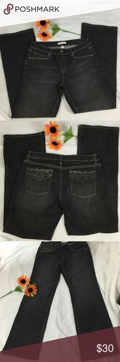 """PRICE DROP⬇White House Black Market Boot leg 10R WHBM Blanc boot leg jean in gray. 5 pockets style with embellishment in the front right pockets and the 2 back pockets. The rise is 9 1/2"""", inseam 32 1/2"""", leg width 9 1/2"""", waist 16"""", hip 20"""". EUC (Excellent used condition) White House Black Market Jeans Boot Cut"""