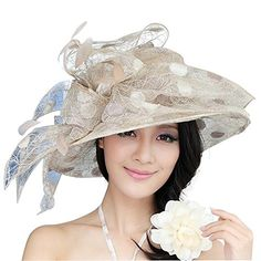 cfa29d4ec84 Junes Young Women Organza Hats Lace Sun Hat Wave Wide Brim Kentucky Derby   38.00 (On