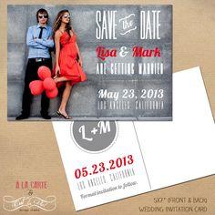 Urban Modern Save the Date Card  - Wedding Photographer photo Card. via Etsy.