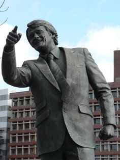 Statue to Ipswich Town's greatest manager Bobby Robson outside Portman Road.