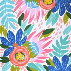 Going big and bold today. I can see this pattern on a swimsuit! Flower Painting Canvas, Canvas Art, Painting Inspiration, Art Inspo, Art Watercolor, Colorful Paintings, Gouache Painting, Halloween Art, Collage