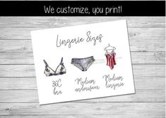 Lingerie Size Card Printable, Lingerie Size Insert, Bra and Panty Size Card | by Pretty Printables Ink on Etsy. This lingerie size card is the perfect way to share the bride's measurements for a lingerie shower or lingerie party! We customize, you print #lingerieshower #lingerieparty #lingeriesizecard #lingeriesizeinsert #brapantysizecard #pantygameinsert #brandpantygame #bachelorettepartyideas