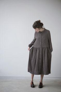 grey natural dress   japanese cut