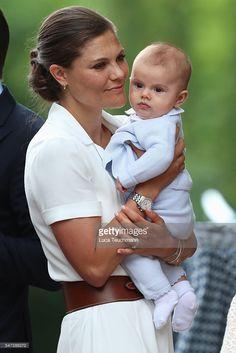 Prince Oscar of Sweden and Crown Princess Victoria of Sweden arrive for Birthday celebrations of Crown Princess Victoria of Sweden at Solliden Palace on July 14, 2016 in Oland, Sweden.