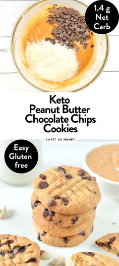 Those coconut flour peanut butter cookies with chocolate chips are easy 5 ingredients coconut flour cookies keto, gluten free, sugar free, g net carbs. Coconut Flour Cookies, Gluten Free Peanut Butter Cookies, Keto Cookies, Chip Cookies, Keto Friendly Desserts, Low Carb Desserts, Lchf, Galletas Keto, Comida Keto