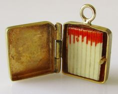 9ct Gold and Enamel Box of Matches Charm Opens by TrueVintageCharms on Etsy