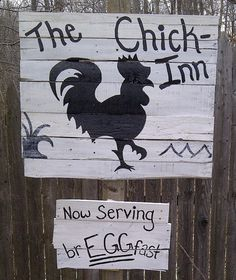 Chicken or Rooster Outdoor Decor.  Outdoor Wooden hand painted sign. This rustic country sign is hand painted using recycled wood and free handed and painted by me! I can custom design any silhouette you like and use what ever colors you need for your yard. Have a certain saying in mind? Just contact me and we will custom design your outdoor sign today!  For sale on Etsy.  Click the picture to take you there!