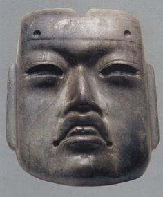 anthropomorphic mask, Olmec, greenstone, 10.2 by 8.6 by 3.1 centimeters, circa 1100-600 B.C., Museo del Templo Mayor, INAH, Mexico City