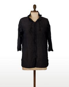 CP Shades Mara in Black | The drawstring collar detail makes this CP Shades blouse extra special. #CPShades #Cotton #Silk