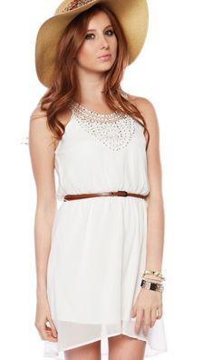 Vestido Papaya Color blanco con diseño de lentejuelas
