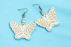 Butterfly dangle earrings Polymer clay earrings by BlueSeagullArt