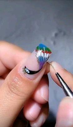 Nail Art Designs Videos, Nail Art Videos, Toe Nail Designs, Cute Acrylic Nails, Gel Nail Art, Nail Art Diy, Nail Printer, One Stroke Nails, Stick On Nails